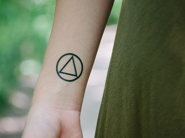 AA Sobriety Circle and Triangle Temporary Tattoo