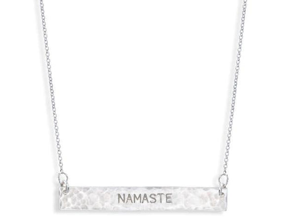 Sterling Silver Bar Necklace - NAMASTE