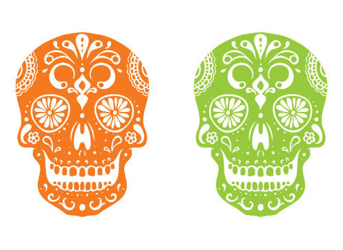 Day of the Dead Skull Temporary Tattoo