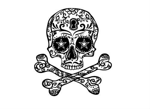 Skull cross bones tattoo set for Skull and crossbones tattoo