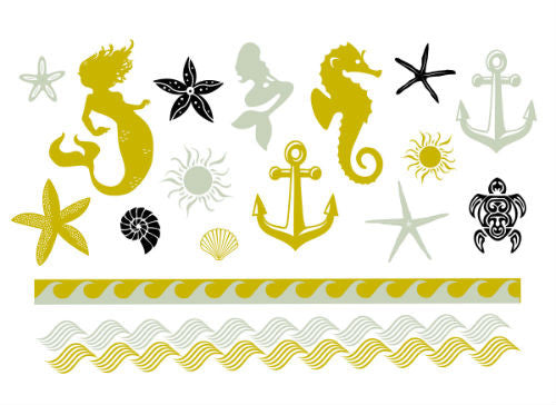 Metallic Beach Temporary Tattoo Set - MyTaT