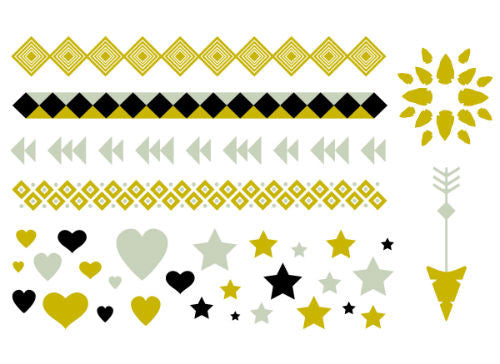 Metallic Gold and Silver Stars, Wraps, Arrow Tattoo Set