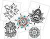 Henna Mandala Yoga LARGE Temporary Tattoo Set