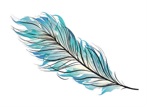 myTaT - Blue, Vintage, Bohemian Feather Tattoo