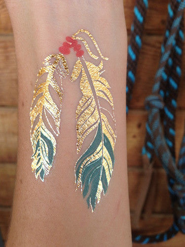 Metallic Western Gold and Turquoise Feathers Temporary Tattoo