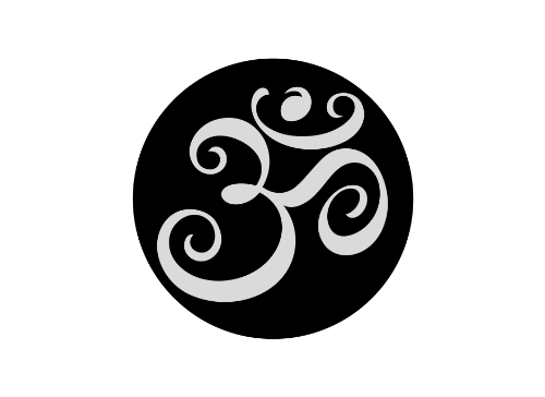 Yoga Aum, Ohm, Om Black Circle Symbol Tattoo Set