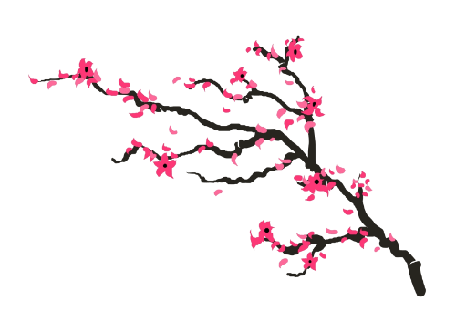 Cherry Blossom Branch Tattoo Set