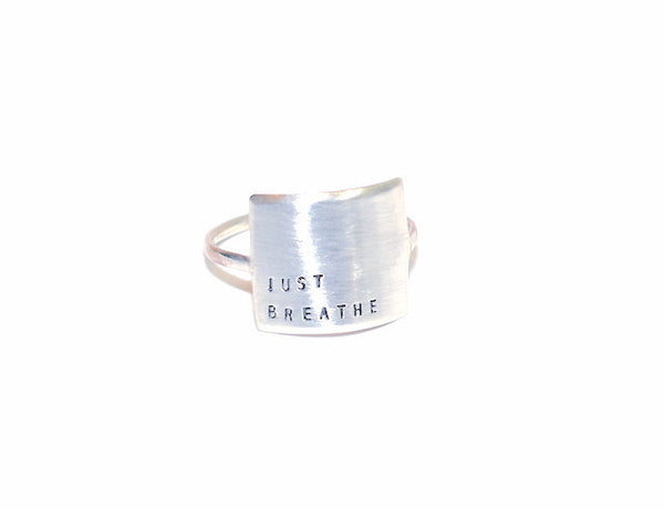 Sterling Silver Wide Message Ring - JUST BREATHE
