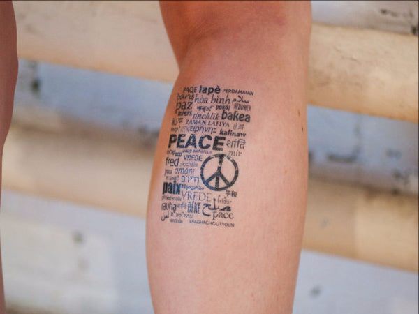 myTaT Peace in 50 Languages Temporary Tattoo