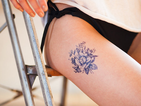 Dark Blue Vintage Flowers Tattoo Set