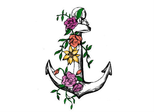 Flower Anchor Tattoo - MyTaT