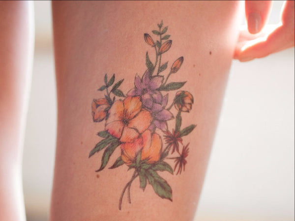 Multicolor Vintage Flowers Tattoo Set