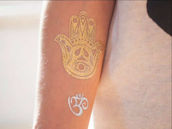 Metallic Yoga Gold and Silver Temporary Tattoo - myTaT