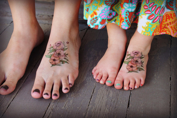 Pink, Vintage, Watercolor, Bohemian Flower Temporary Tattoo