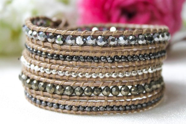 Leather Wrap Bead Bracelet - Silver Seduction