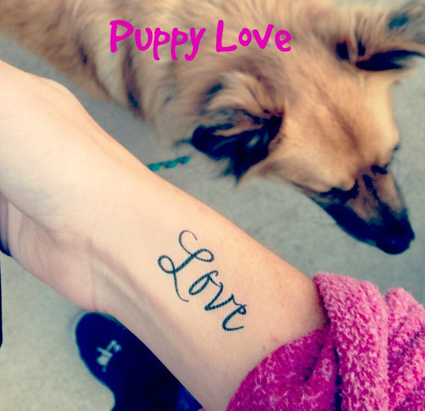 Script Love Temporary Tattoo