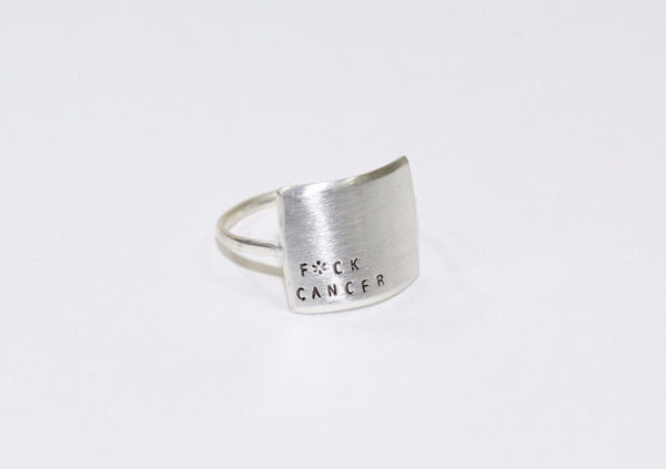 Sterling Silver Wide Message Ring - F*CK CANCER