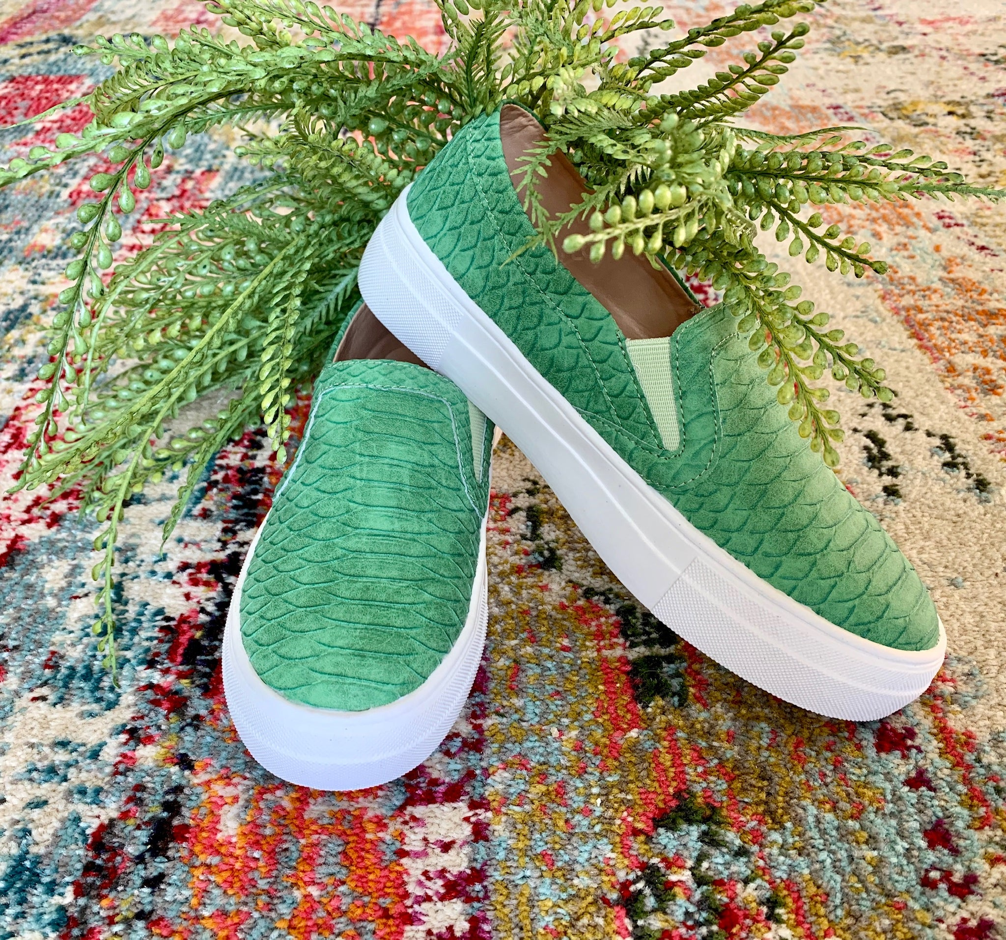 Green Slip-On Tennis Shoe - Caroline's Boutique Indiana