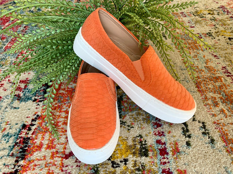 Orange Slip-On Tennis Shoe - Caroline's Boutique Indiana