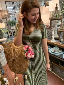 Stripe Button Down Dress - Caroline's Boutique Indiana