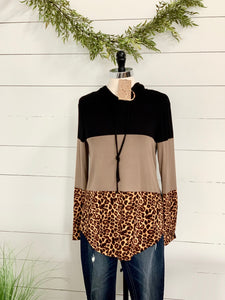 Color block leopard print Hoodie - Caroline's Boutique Indiana