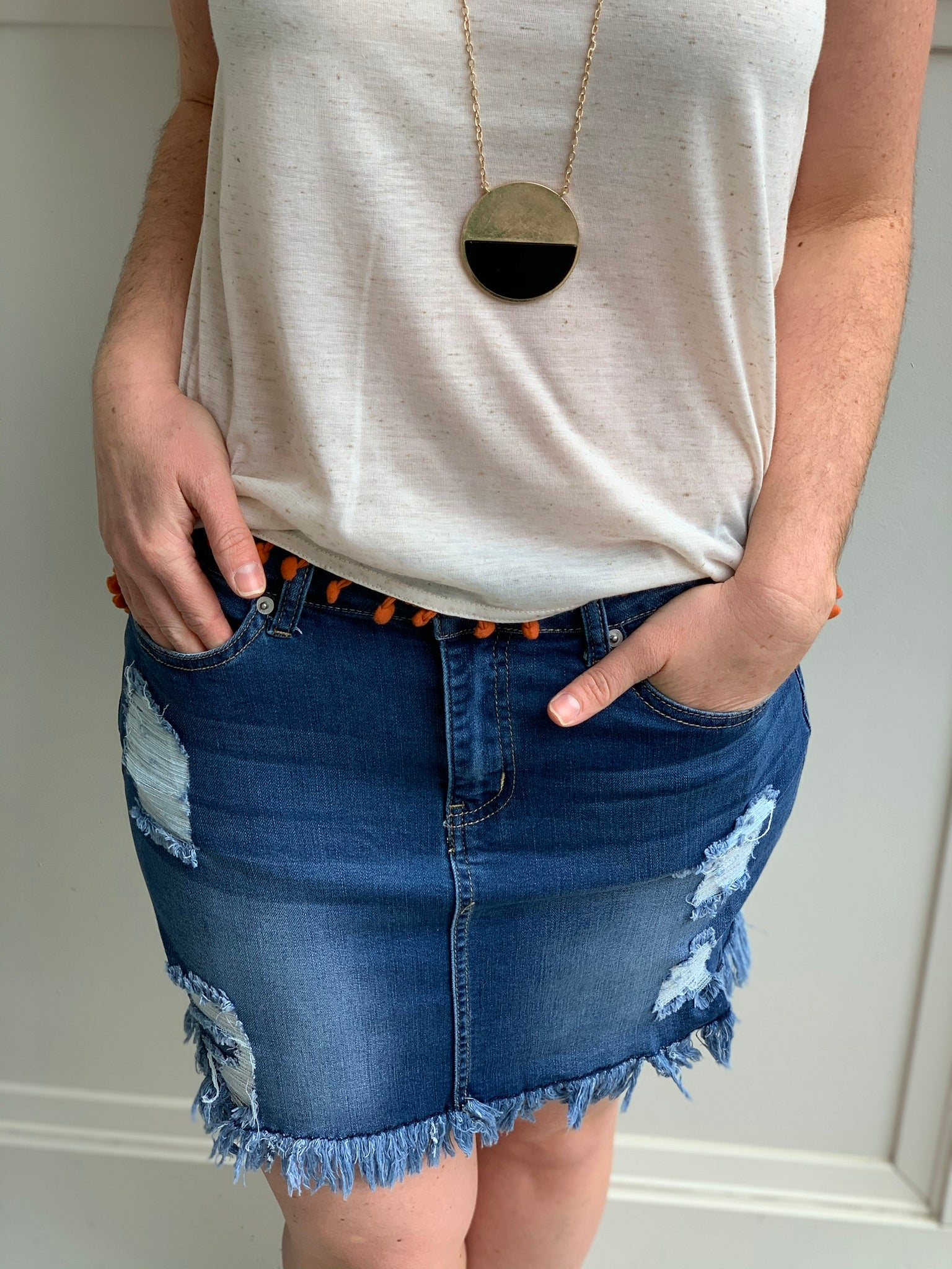 Frayed edge denim skirt - Caroline's Boutique Indiana