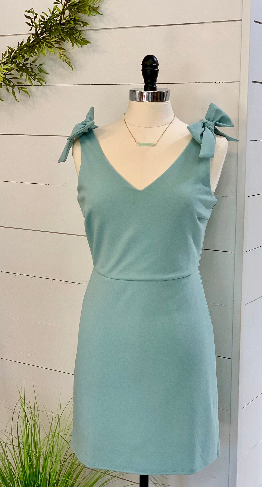 Knit dress with tie shoulder - Caroline's Boutique Indiana