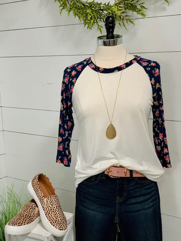 Small Floral Baseball Tee - Caroline's Boutique Indiana