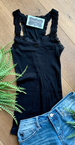 Slim Fit Lace Tank Black - Caroline's Boutique Indiana