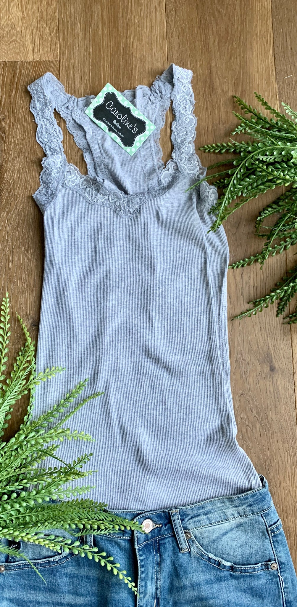 Slim Fit Lace Trim Tank Grey - Caroline's Boutique Indiana