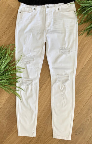 White skinny distressed denim jeans - Caroline's Boutique Indiana
