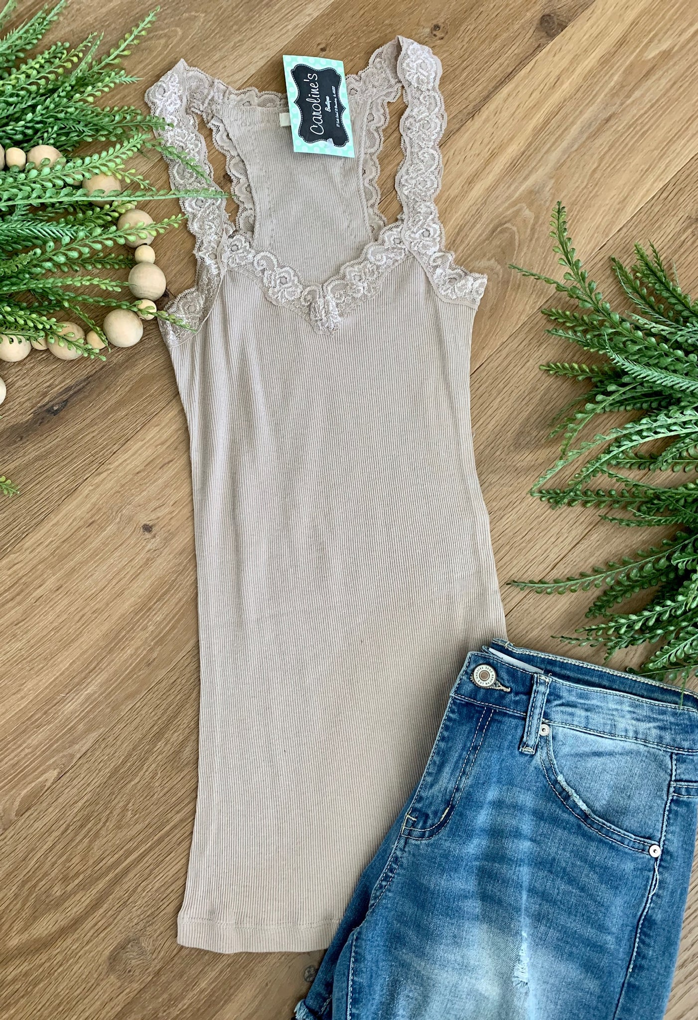 Slim Fit tank Mocha - Caroline's Boutique Indiana