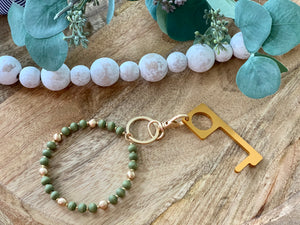 No contact door opener Sage Bead Key ring