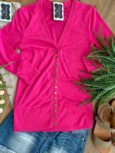 Snap Cardigan Hot pink - Caroline's Boutique Indiana