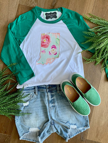 Indiana Tee with peach and green floral - Caroline's Boutique Indiana