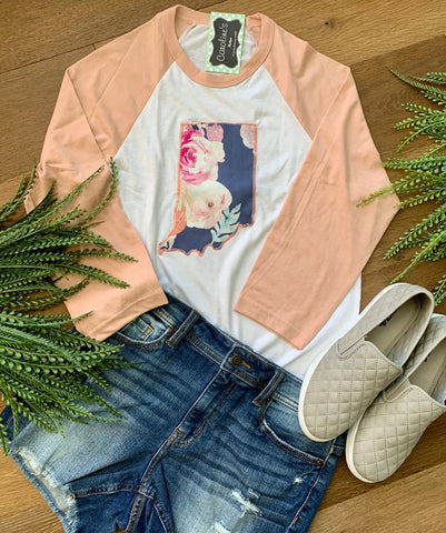 Indiana tee peach sleeve periwinkle floral - Caroline's Boutique Indiana