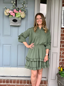 Olive Swing Dress - Caroline's Boutique Indiana