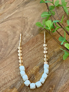 Gold and white wood bead necklace