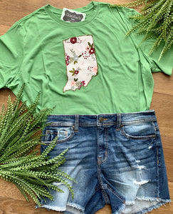 Indiana Green Short Sleeve with Cabbage Rose Floral
