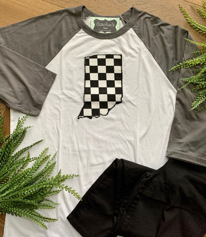 Indiana Grey Sleeve Black and White Checker
