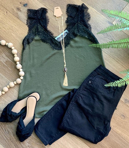 Lace trim Black and Olive tank