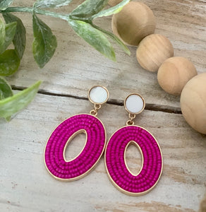 Hot Pink Bead Oval Dangle Earring