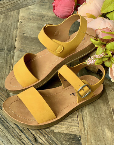 Mustard Side Buckle Sandal - Caroline's Boutique Indiana