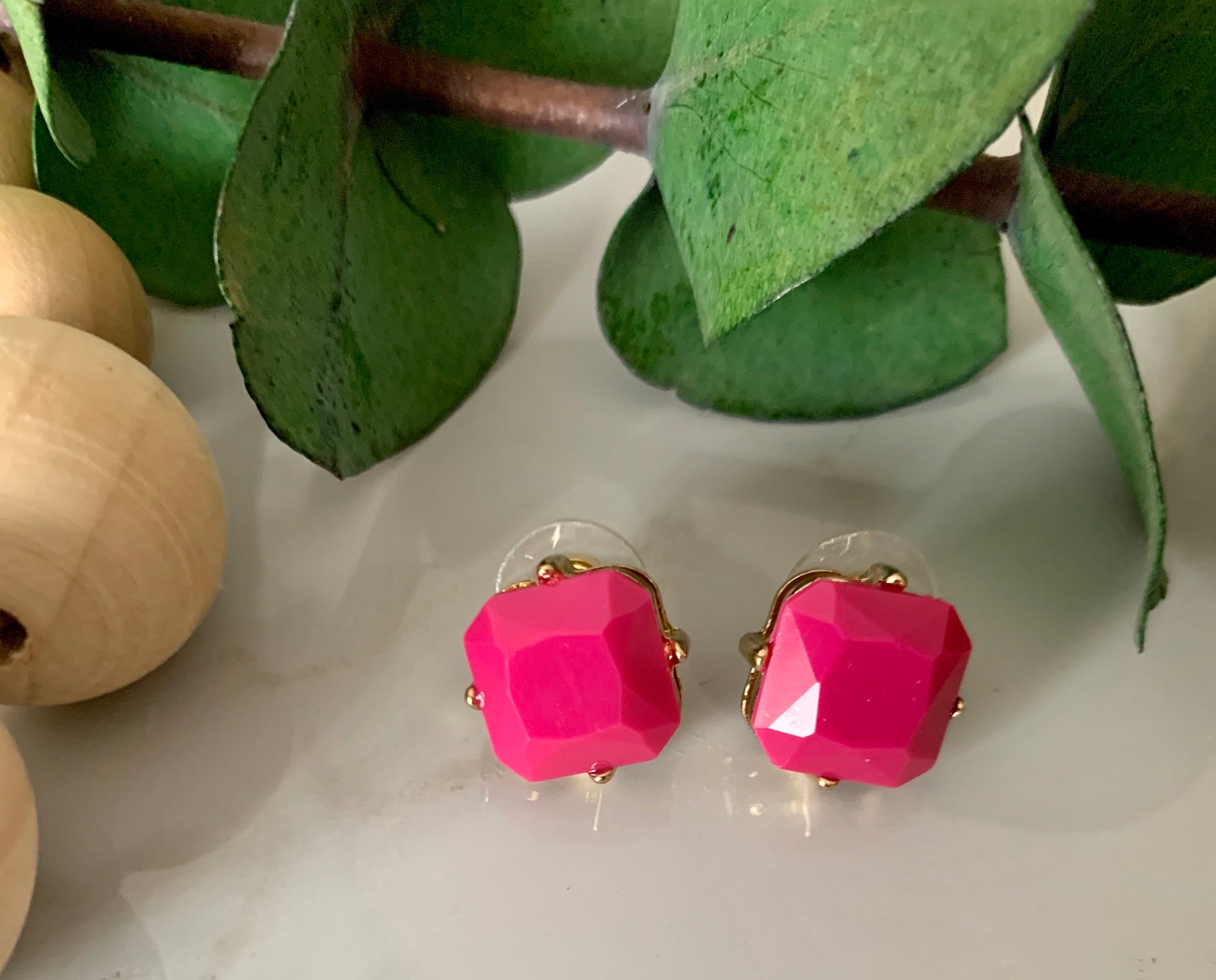 Square Gem Stone Stud Earrings- Hot Pink