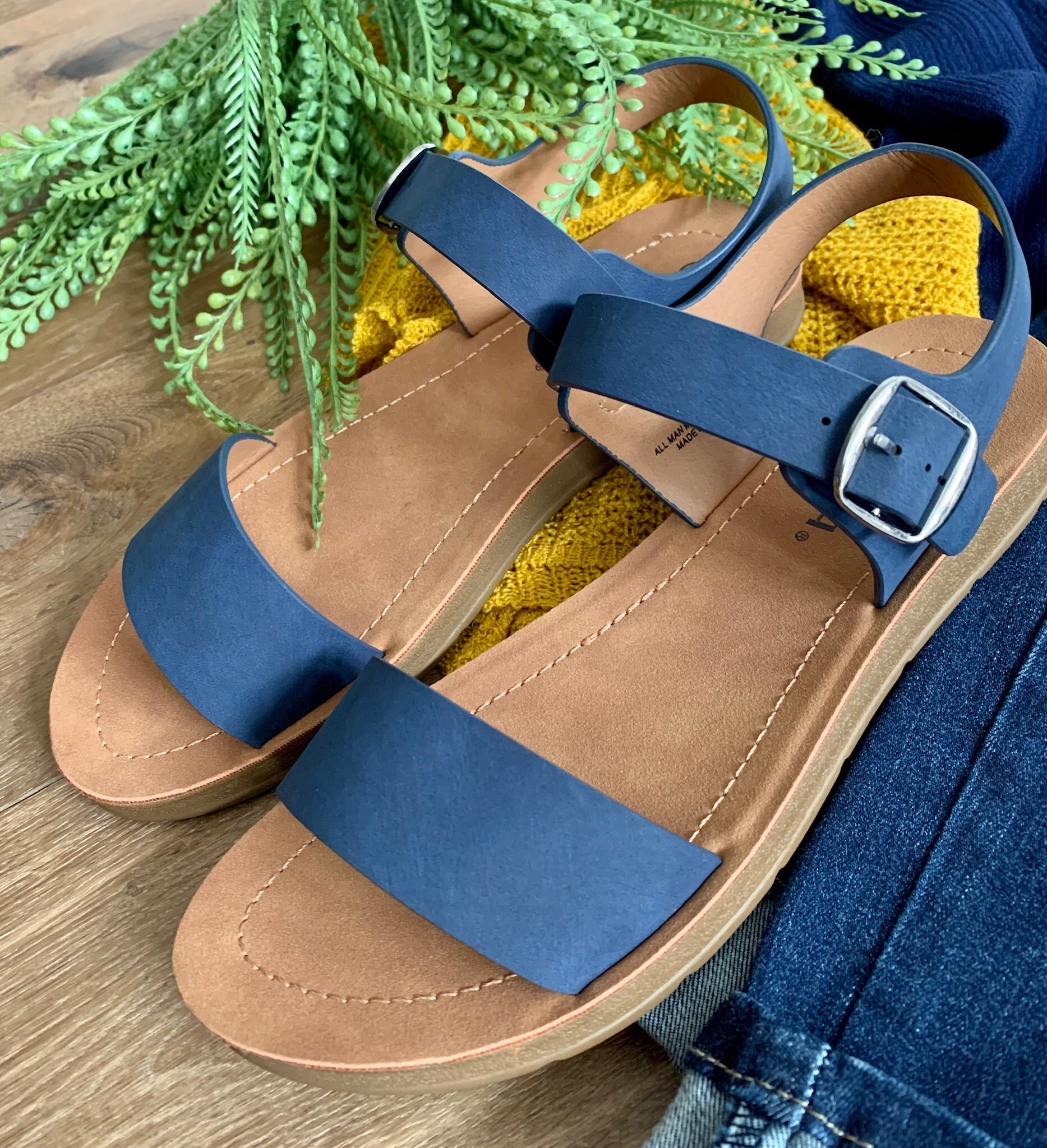 Navy Side Buckle Sandal - Caroline's Boutique Indiana