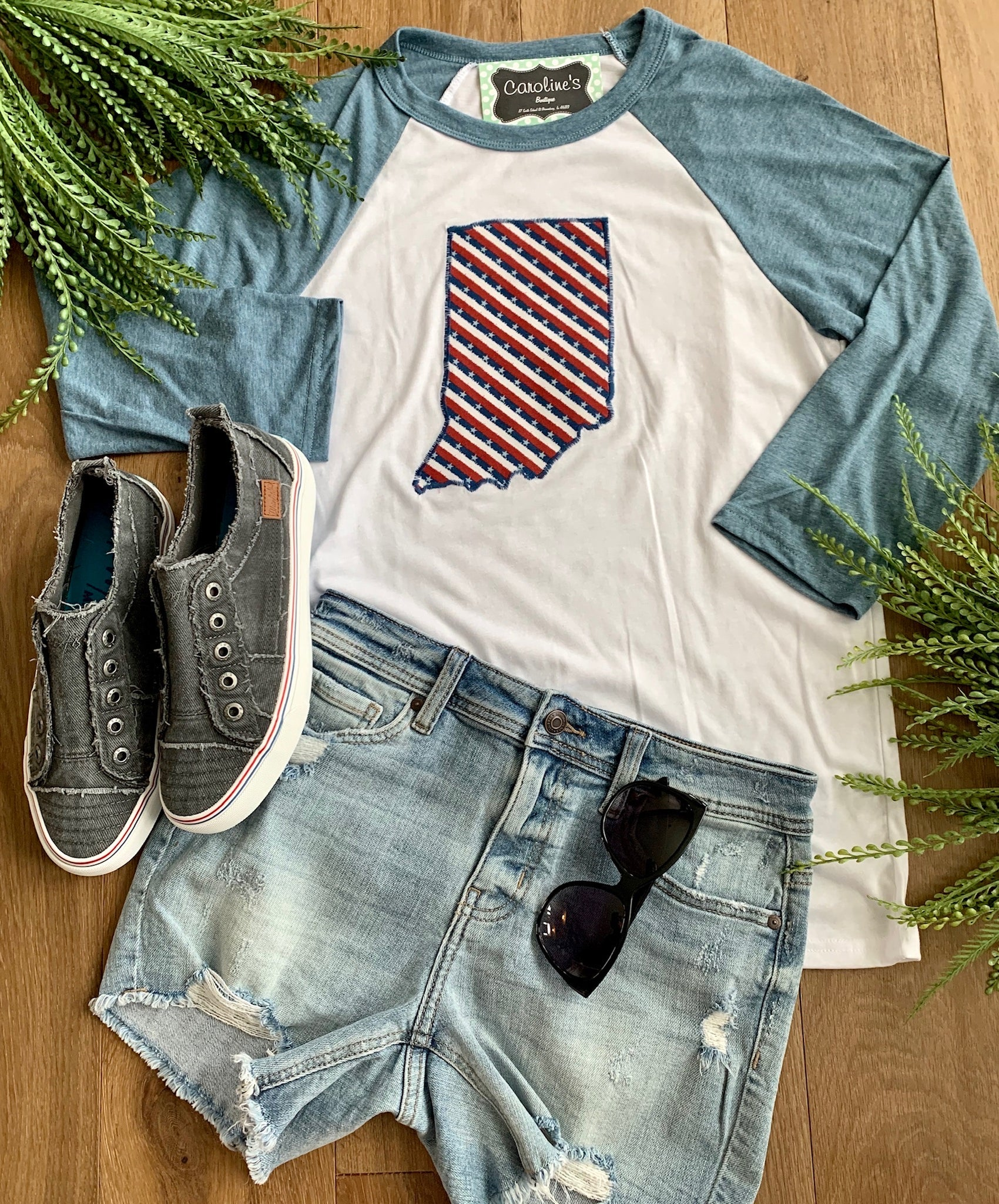 Indiana tee denim sleeve star and stripes