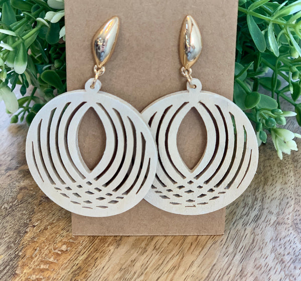Laser cut oval wood earrings