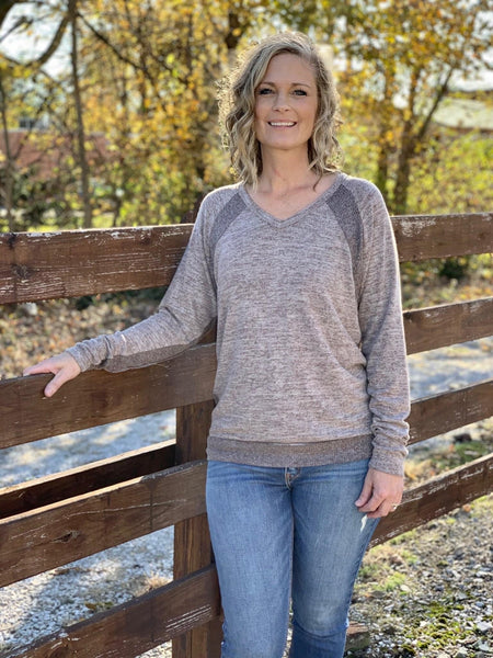 Dolman Sleeve Deep V Neck Top with Contrast