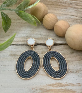 Grey Bead Oval Dangle Earrings