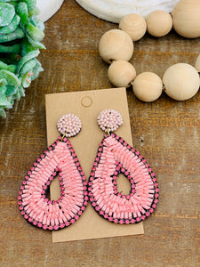 Blush Beaded Teardrop Earrings